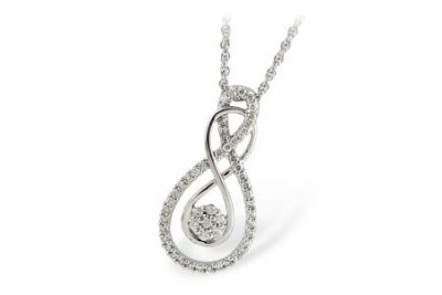 Double infinity pendant with round accenting diamonds lining one infinity and pave circle in the center all totaling .37ct G Color, SI1 clarity on 18 inch chain, 14k white gold