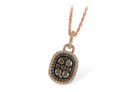 Rounded rectangular pendant with .66ct round accenting coco diamonds through the center and .28ct of P/Q Color, SI1/2 diamonds around the outside and up the bale, 14k rose gold 18 inches
