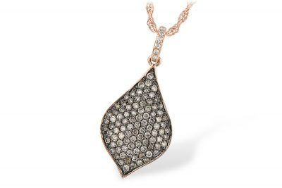 Pointed teardrop pendant with pave set coco diamonds totaling .56ct and .02ct P/Q Color, SI1/2 diamonds up the bale, 14k rose gold 18 inch chain