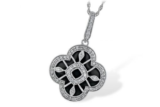 Clover Shape onyx pendant with round accenting diamonds totaling .30ct H Color, SI3 clarity overlay on top and around, also up the bale, 14k white gold 18 inch chain