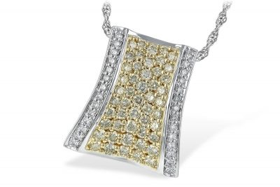 Tapered Rectangle Shape Diamond pave pendant with 1.36ct Yellow Diamonds pave set through the center and line of O/P Color SI1/SI2 Clarity lined down both sides, 14k two tone on 18 inch 14k white gold chain