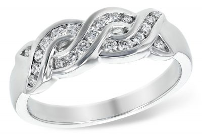 Braided style ring with channel set diamonds all totaling .27ct, G Color, SI1 Clarity , 14k white gold