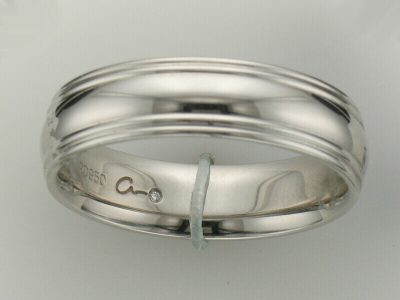 Gents Palladium A. Jaffe Comfort Fit 6mm High Polish wedding band with Double Stripe on Edges
