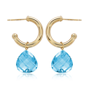 Small Hoop 2.5x15mm Earring with 10mm Pear shape Blue Topaz dangle, 14k yellow gold