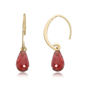 Mini Simple sweep loop earrings with mozambique garnet briolette, all 14k yellow gold