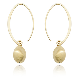 Small Simple Sweep Drop earrings with gold nugget dangle, 14k yellow gold