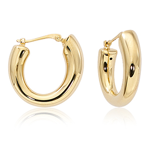 Chubby tapered hoop earrings with hinged post, 14k yellow gold