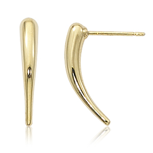 Small curved bar upside down teardrop earrings on post, 14k yellow gold