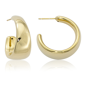 tapered band hoop post earrings, high polish 14k yellow gold
