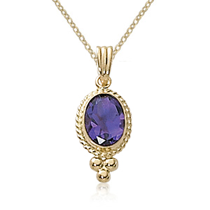 Amethyst 14k Yellow Gold 8x6 Oval Pendant with Rope Design Around the Amethyst on a 14k Yellow Gold 18 Inch Rope Chain with Spring Ring Clasp