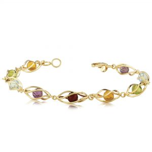 14k Yellow Gold 7.5 inch Bracelet with gemstone beads inside cage links-2 Amethyst, 2 Peridot, 2 Blue Topaz, 1 Garnet and 2 Citrine