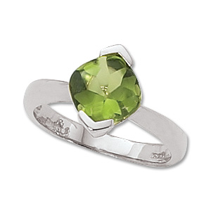 8x8mm checkerboard cut perdiot ring with peridot set at angle and 1/4 bezel all high polish rhodium plated size 6.5