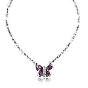 Amethyst Butterfly pendant with two 3mm round amethyst and two 5x3mm amethyst, 16 inches sterling silver