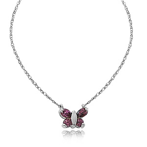 Rhodalite Garnet Butterfly pendant with two 3mm round Rhodalite Garnet and two 5x3mm Rhodalite Garnet, 16 inches sterling silver