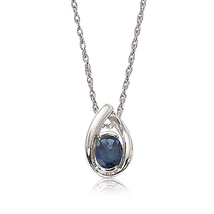 Teardrop Sterling Silver Pendant with oval 8x6mm Iolite in the center on 18 inch Venetian box link chain, 1.8mm, Sterling Silver