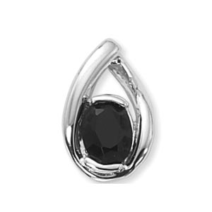 Teardrop Sterling Silver Pendant with oval 8x6mm Onyx in the center on 18 inch Venetian box link chain, 1.8mm, Sterling Silver