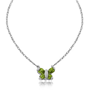 Peridot Butterfly pendant with two 3mm round peridot and two 5x3mm peridot, 16 inches sterling silver