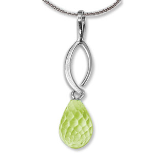 Peridot Briolette Pendant with open marquise of silver above the Peridot, all sterling silver