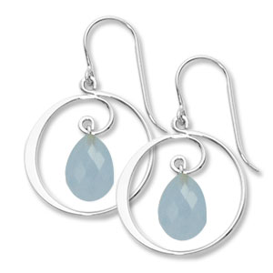Drop Earrings with open circle of silver and Chalcedony briolette dangle in the center, all sterling silver