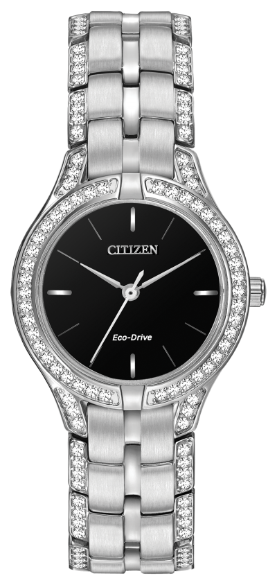 Silhouette black round dial Citizen Eco Drive watch with Swarovski Crysals surrounding the face and down edges of band, ladies stainless steel