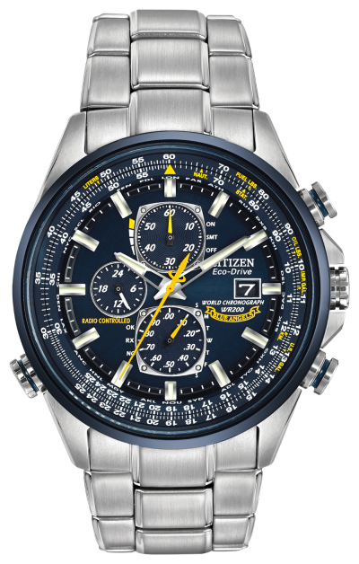 Citizen Eco-Drive Radio-Controlled Chronograph World Timer; Blue Angels edition with caseback insignia. Atomic time in 26 world cities; radio-controlled accuracy in 5 zones. 1/20 second chrono measures up to 60 minutes, perpetual calendar, 12/24 hour time, power reserve, non-reflective sapphire crystal. Stainless steel with blue ion plating. Featuring our Eco-Drive technology – powered by light, any light. Never needs a battery. Caliber number H800. A-T
