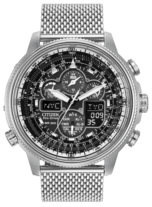 Citizen Navihawk Atomic clock Eco Drive watch with perpetual calendar chronograph, radio signals receiving watch for on time synchronization, Stainless steel case with mesh bracelet, black dial, world time with 43 cities, 2 alarms, 1/100 second chronograph