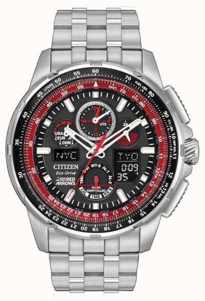 Royal Air Force Red Arrows Citizen Skyhawk A-T collection Eco Drive watch with Atomic timekeeping in 43 cities, chronograph, perpetual calendar, dual time, alarms, countdown timer, digital backlight and UTC displays, power reserve and pilot's rotating slide rule bezel with stainless steel bracelet and red accents