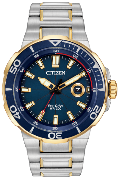 Gents Citizen Eco Drive Endeavor watch with blue dial and red accents, stainless steel case and bracelet, water resistant 200 meters, one way rotation elapsed-time bezel, two tone