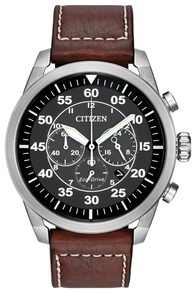 Gents Citizen Eco Drive Black Dial with white number markers, Chronograph, Brown Leather band