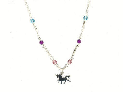 Kids Unicorn necklace with Pink, Blue and Purple Swarovski Crystal, 16 inches, sterling silver