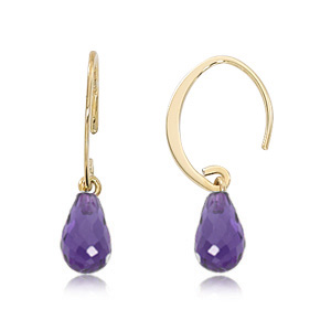 14k Yellow Gold Mini Simple Sweep hoop earrings with Amethyst briolette dangle below