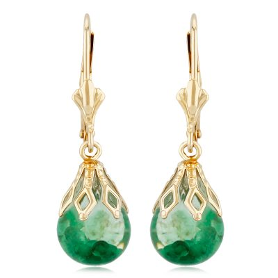 Floating Emerald Leverback Earrings with Floating Emerald Ball below Lace Cap all 14k yellow gold