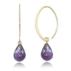 14k Yellow Gold Simple Sweep Hoop Earrings with Amethyst Briolette below, 1.5 inches long