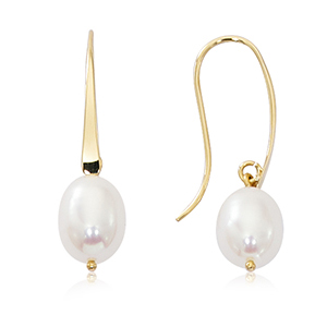 Freshwater pearl drop earrings on 14k yellow gold euro wire