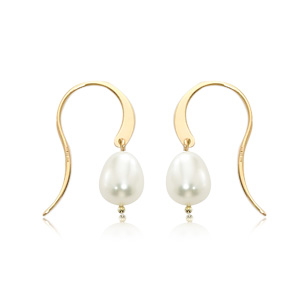Simple hoop hook earrings with freshwater pearl dangle, all 14k yellow gold