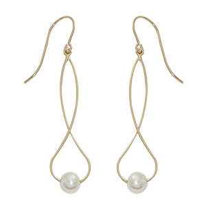 Twisty pear dangle 14k yellow gold earrings with freshwater pearl at the bottom, eurowire hooks