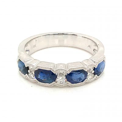Diamond and Sapphire band with 4 oval Sapphire totaling 1.72ct and 2 accenting diamonds set between each - 6 diamonds total - diamodns totaling .18ct, Vintage style milgrain, 14k white gold