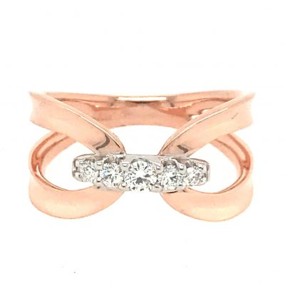 Two Open Loops of 14k rose gold are joined by a row of five tapering diamonds set in 14k white gold. Total carat weight of the diamonds is .20 carat. Diamonds are G-H color grade and SI2