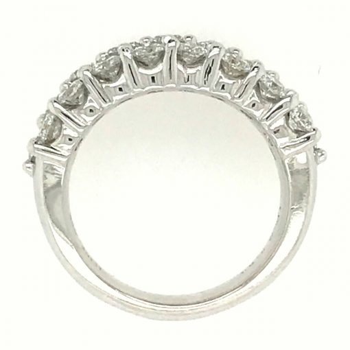 Through finger view twenty five diamonds, Triple Row shared prongs. All diamonds are bright white G-H Color grade and a superior SI1 Clarity grade. 14k white gold