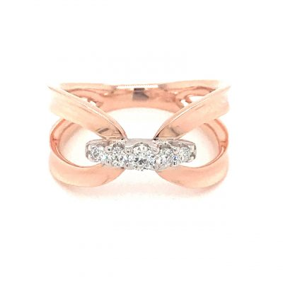 Open Looped Shank ring with 5 round diamonds connecting the center, all diamonds GH SI2 and totaling .20ct, 14k rose gold