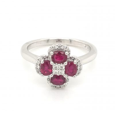 Four Oval Ruby Ring with Diamonds