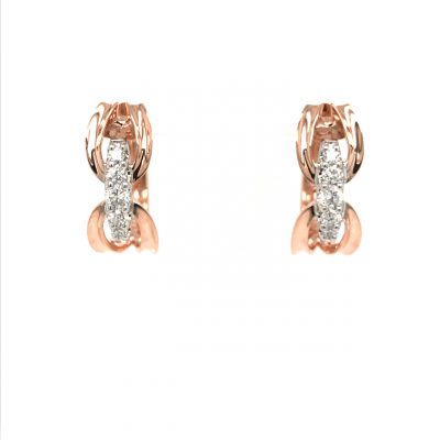 Open Loop Buckle style open hinged hoop earrings with row of 5 round accenting diamonds through the center all totaling .34 carat total, G-H color grade, SI2 clarity grade, Shown in 14k rose gold. Also available in Yellow and White Gold