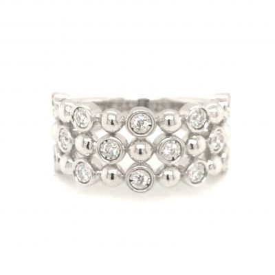 Triple Row Champagne Bubbles Diamond ring with bezel set diamonds throughout totaling .25ct, GH SI2, 14k white gold