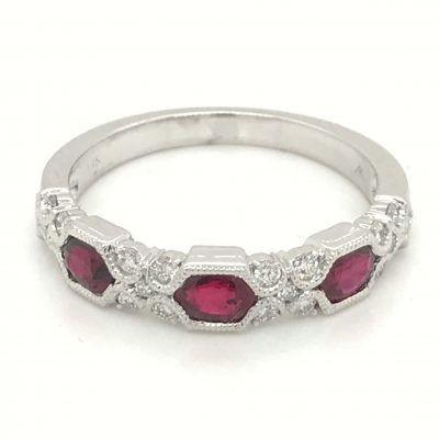Diamond and Ruby band with 4 oval Rubies totaling 1.66ct and 2 accenting diamonds set between each - 6 diamonds total - diamonds totaling .18ct, Vintage style milgrain, 14k white gold