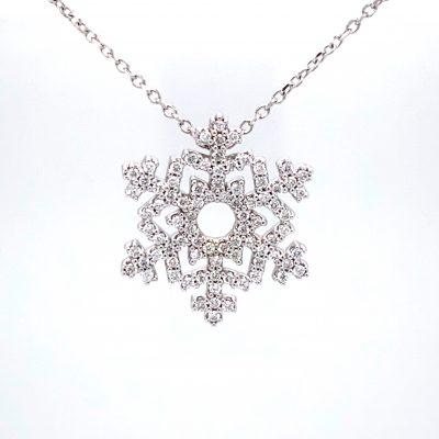 84 Diamond Snowflake Pendant 1/3 carat total 14k white gold on an 16 inch chain. Length of chain can be changed. Snowflake measures 17.7×15.5 mm