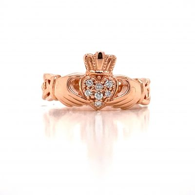 Claddagh Ring with Celtic knot band and pave set round accenting diamonds in the heart all totaling .07ct, GH Color, SI3 clarity, 14k rose gold