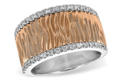 Rose Gold Bark Pattern Ring with White gold Diamond Border