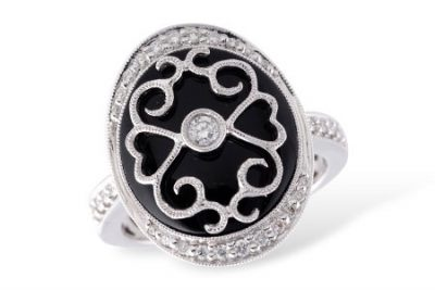 Oval Onyx Vintage Style Ring with Diamonds