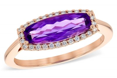 Horizontal Fancy Cut Amethyst with Halo of Diamonds Ring