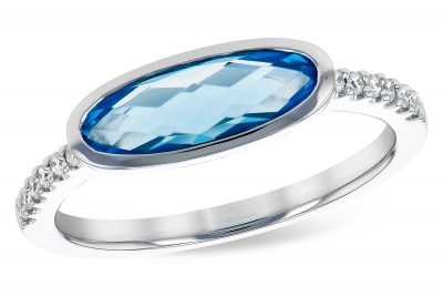Horizontal Oval Swiss Blue Topaz Ring with Diamonds